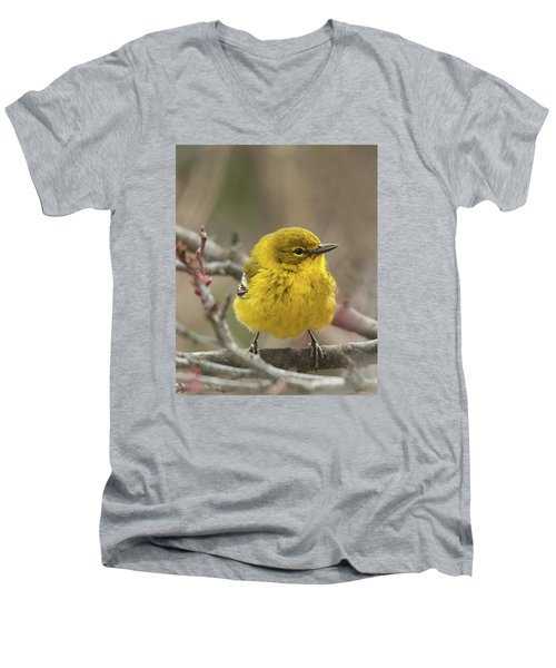 Men's V-Neck T-Shirt featuring the photograph Little Yellow by Lara Ellis