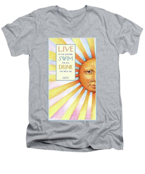 Men's V-Neck T-Shirt featuring the painting Live In The Sunshine by Lora Serra