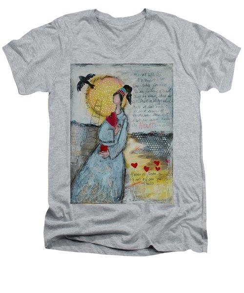 Live Joyfully  Men's V-Neck T-Shirt by Sharon Furner