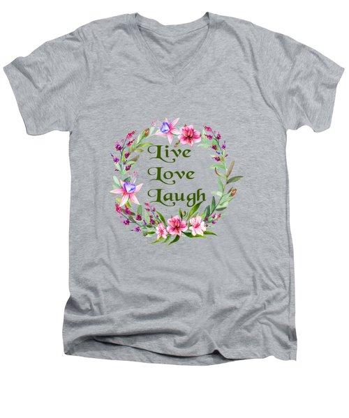 Live Love Laugh Wreath Men's V-Neck T-Shirt