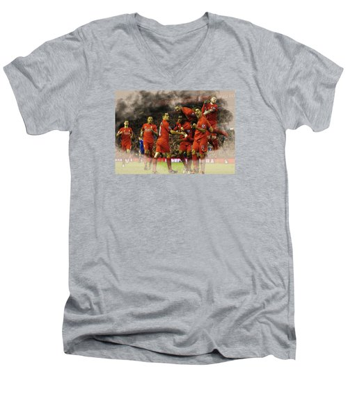 Liverpool V Leicester City Men's V-Neck T-Shirt by Don Kuing