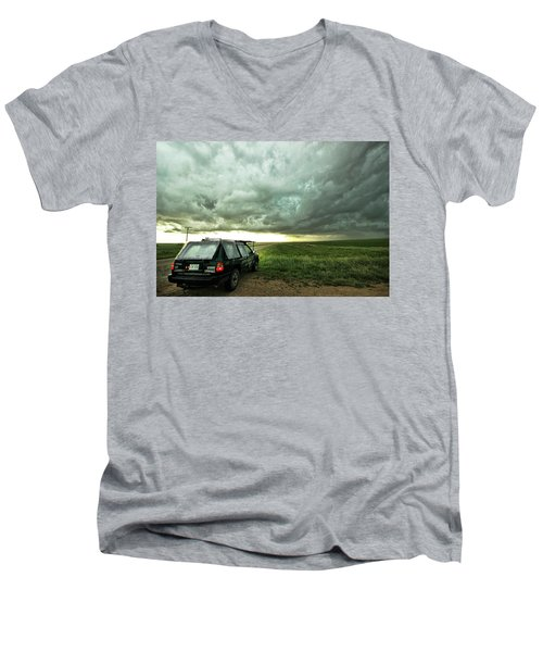Men's V-Neck T-Shirt featuring the photograph Living Saskatchewan Sky by Ryan Crouse