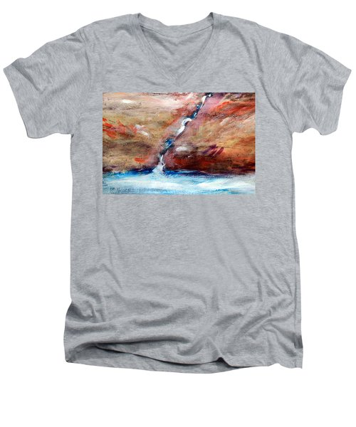 Men's V-Neck T-Shirt featuring the painting Living Water by Winsome Gunning