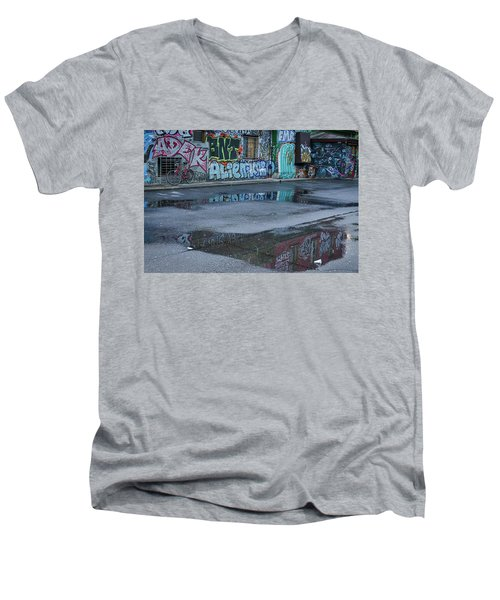 Men's V-Neck T-Shirt featuring the photograph Ljubljana Graffiti Reflections #2 - Slovenia by Stuart Litoff