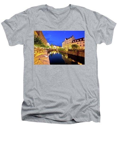 Ljubljanica River Waterfront In Ljubljana Evening View Men's V-Neck T-Shirt by Brch Photography