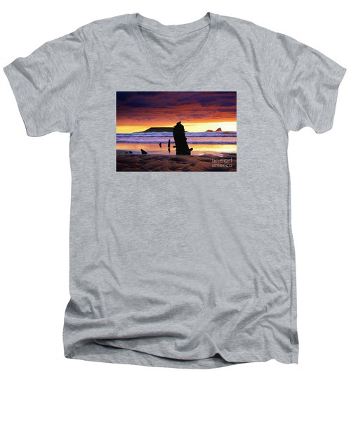 Llangennith Helvetia Wreck Men's V-Neck T-Shirt