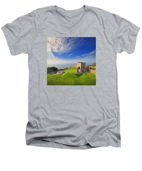 Llansteffan Castle 2 Men's V-Neck T-Shirt