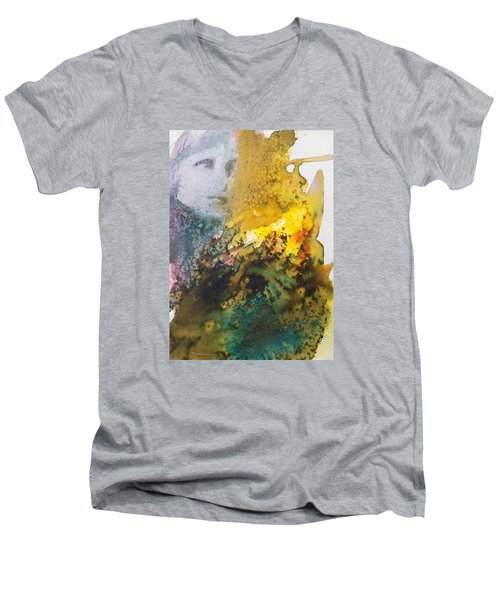 Men's V-Neck T-Shirt featuring the painting Llywelyn From Luxembourg by Ed  Heaton