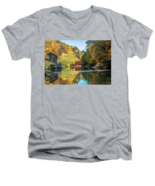 Mcconnell's Mill And Covered Bridge Men's V-Neck T-Shirt by Skip Tribby