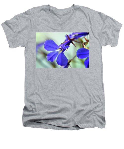 Men's V-Neck T-Shirt featuring the photograph Lobelia Erinus by Terence Davis
