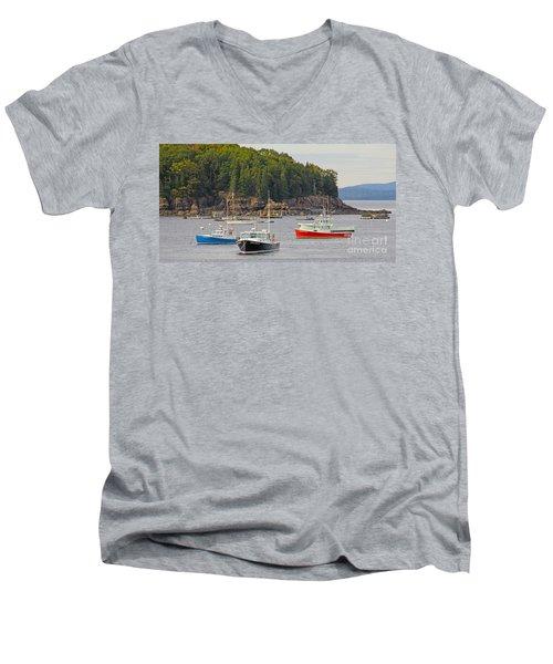 Lobster Boats In Bar Harbor Men's V-Neck T-Shirt