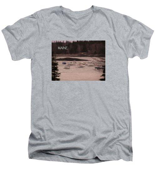 Lobster Boats Men's V-Neck T-Shirt by Jewels Blake Hamrick