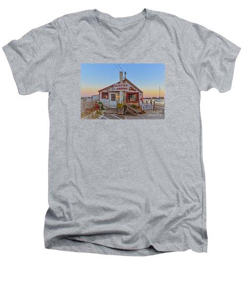 Men's V-Neck T-Shirt featuring the photograph Lobster Landing Sunset by Edward Fielding