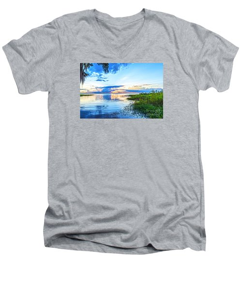 Men's V-Neck T-Shirt featuring the photograph Lochloosa Lake by Anthony Baatz