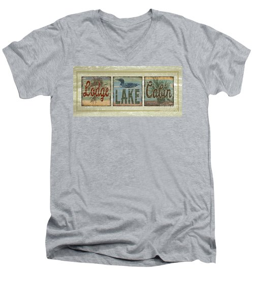 Men's V-Neck T-Shirt featuring the painting Lodge Lake Cabin Sign by Joe Low
