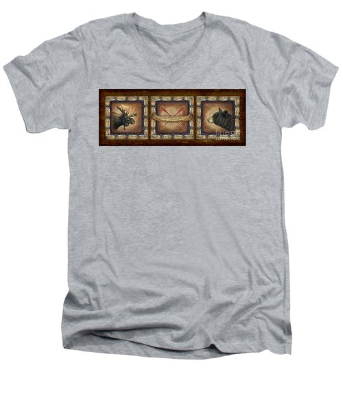 Men's V-Neck T-Shirt featuring the painting Lodge Panel by Joe Low