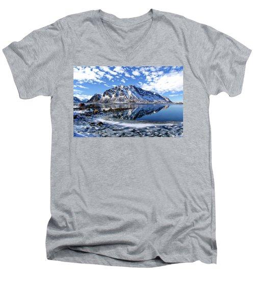 Lofoten Winter Scene Men's V-Neck T-Shirt