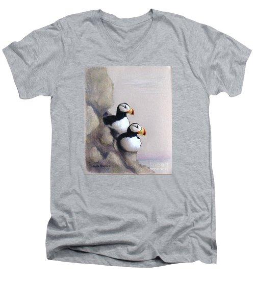 Lofty View Men's V-Neck T-Shirt by Phyllis Howard