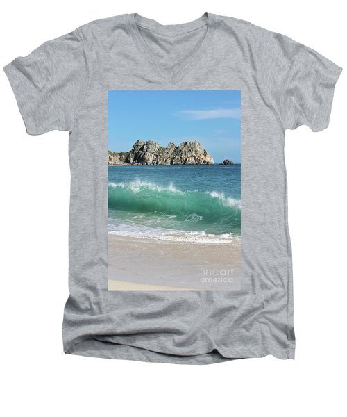 Men's V-Neck T-Shirt featuring the photograph Logan Rock Porthcurno Cornwall by Terri Waters