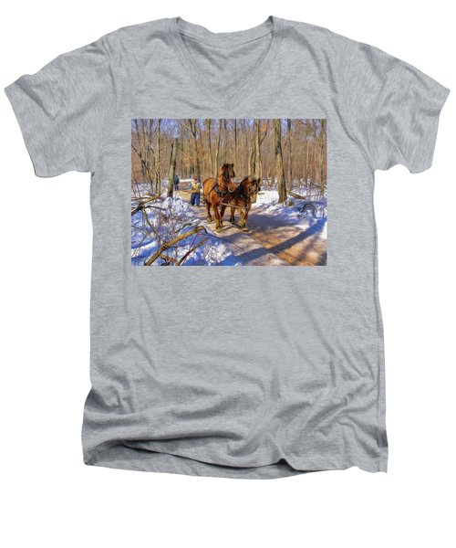 Logging Horses 1 Men's V-Neck T-Shirt by Trey Foerster