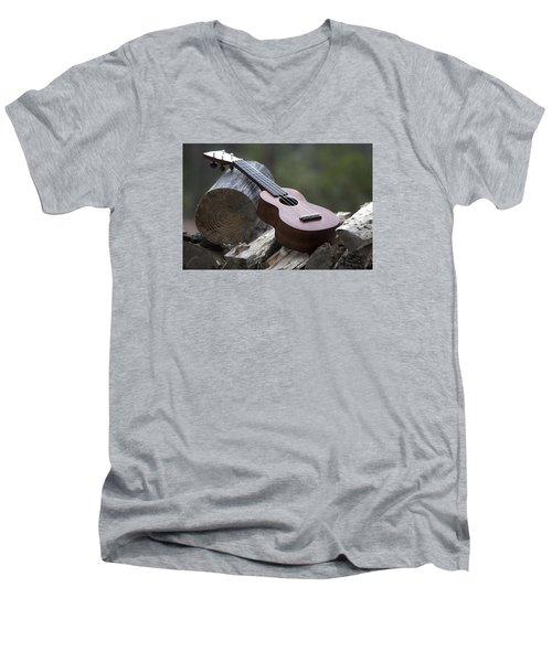 Logpile Ukulele Men's V-Neck T-Shirt