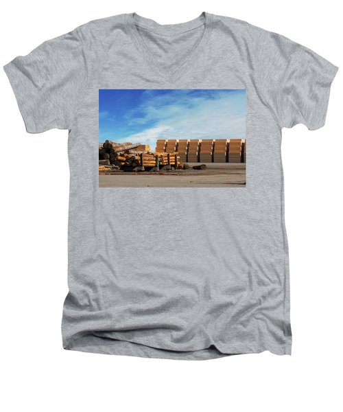 Logs And Plywood At Lumber Mill Men's V-Neck T-Shirt