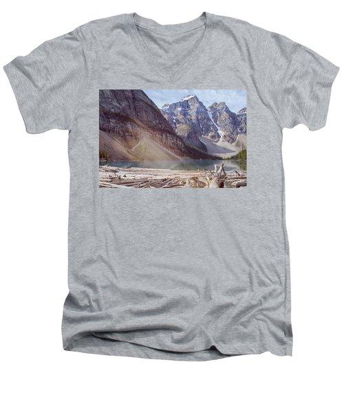 Logs At Lake Moraine Men's V-Neck T-Shirt