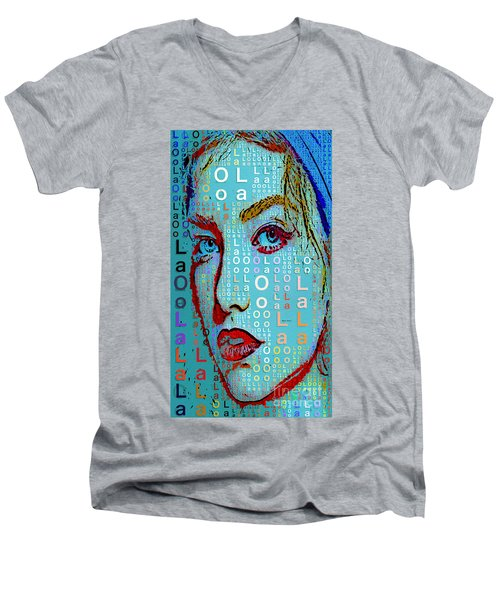 Men's V-Neck T-Shirt featuring the digital art Lola Knows by Rafael Salazar