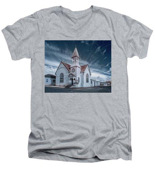 Men's V-Neck T-Shirt featuring the photograph Loleta Church by Greg Nyquist