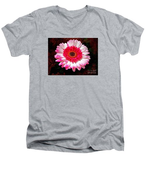Lollipop Gerber Daisy Men's V-Neck T-Shirt by Patricia L Davidson