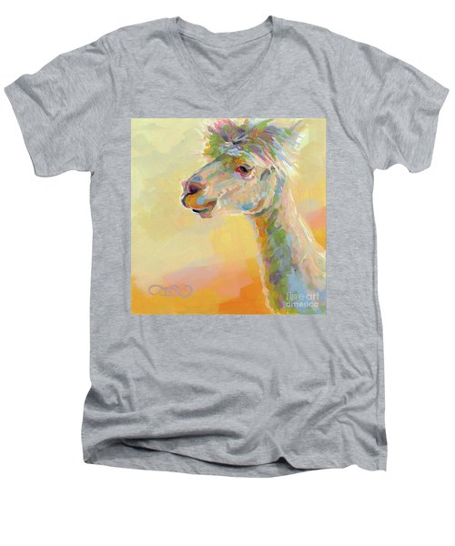 Lolly Llama Men's V-Neck T-Shirt by Kimberly Santini