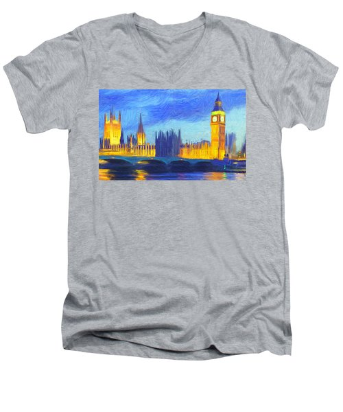 London 1 Men's V-Neck T-Shirt by Caito Junqueira