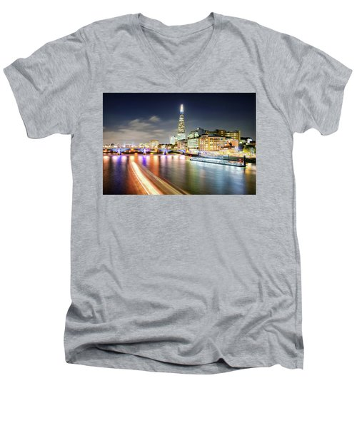 London At Night With Urban Architecture, Amazing Skyscraper And Boat At Thames River, United Kingdom Men's V-Neck T-Shirt