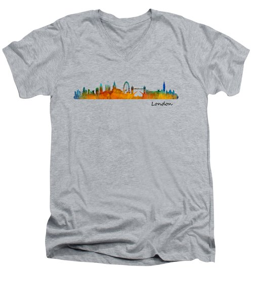 London City Skyline Hq V1 Men's V-Neck T-Shirt