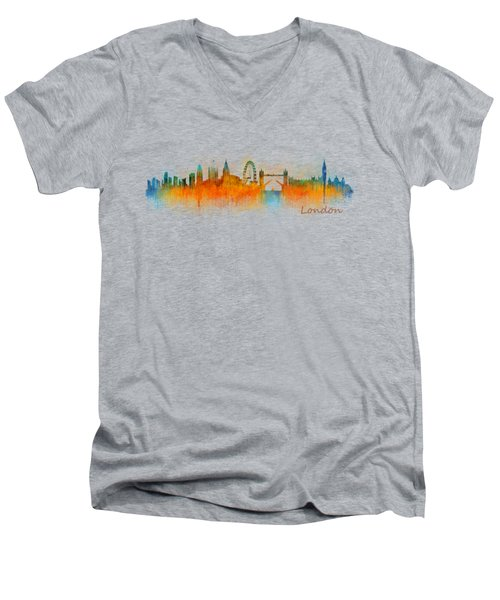 London City Skyline Hq V3 Men's V-Neck T-Shirt