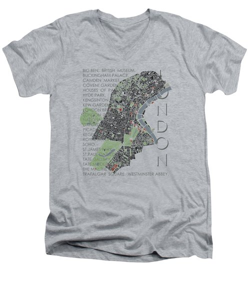 London Classic Map Men's V-Neck T-Shirt by Jasone Ayerbe- Javier R Recco