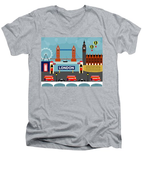 London England Horizontal Scene - Collage Men's V-Neck T-Shirt by Karen Young