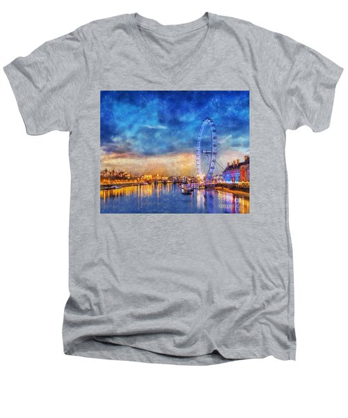 London Eye Men's V-Neck T-Shirt by Ian Mitchell