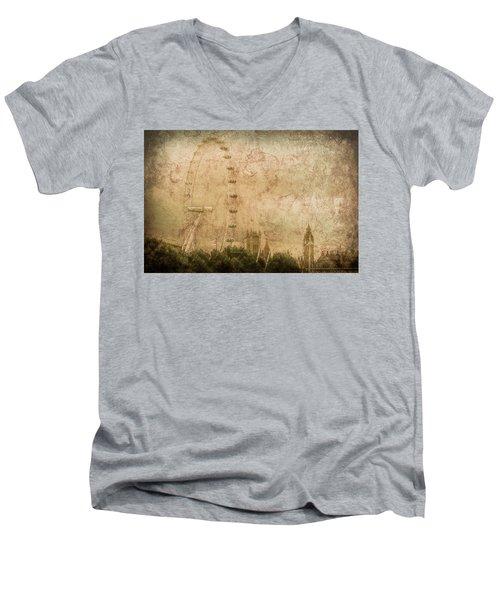 London, England - London Eye Men's V-Neck T-Shirt
