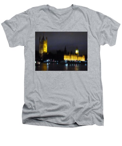 Men's V-Neck T-Shirt featuring the photograph London Late Night by Christin Brodie