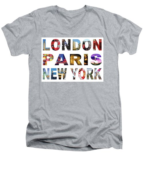 Men's V-Neck T-Shirt featuring the digital art London Paris New York, White Background by Adam Spencer