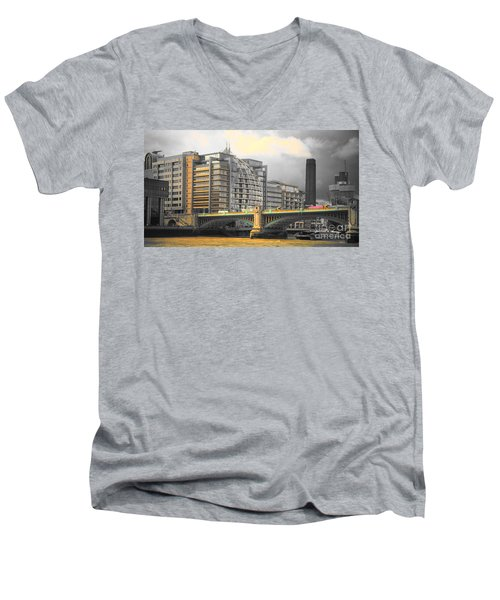 London Men's V-Neck T-Shirt by Therese Alcorn
