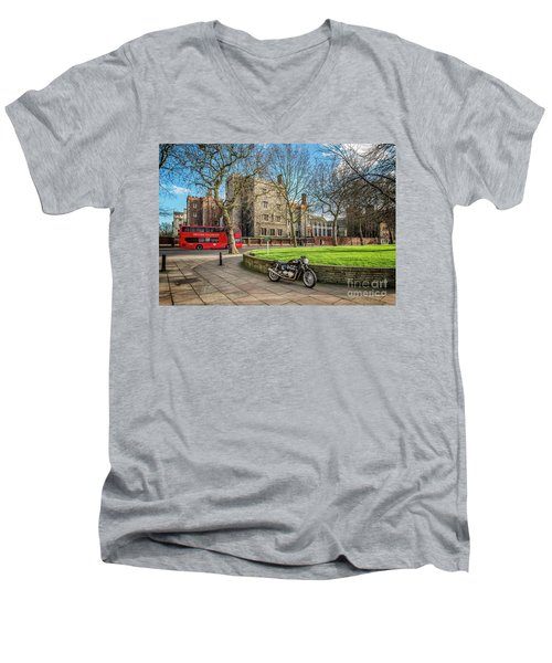 Men's V-Neck T-Shirt featuring the photograph London Transport by Adrian Evans