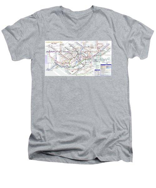 London Underground Map Men's V-Neck T-Shirt