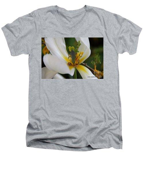 Men's V-Neck T-Shirt featuring the photograph London White Tulip by Jolanta Anna Karolska