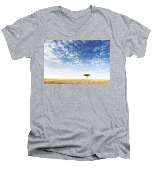 Lone Acacia Tree In The Masai Mara Men's V-Neck T-Shirt