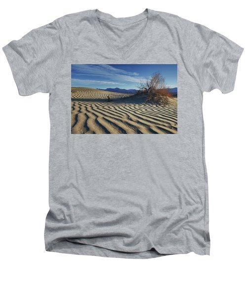 Lone Bush Death Valley Hdr Men's V-Neck T-Shirt by James Hammond