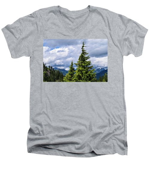 Lone Fir With Clouds Men's V-Neck T-Shirt