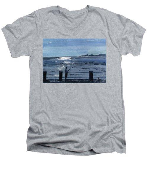 Lone Fisherman On Worthing Pier Men's V-Neck T-Shirt by Carole Robins