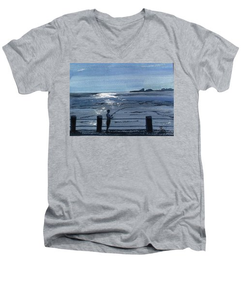 Lone Fisherman On Worthing Pier Men's V-Neck T-Shirt